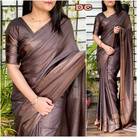 Brown Color Dola silk Dyeing material Saree - DOLA SILK-04