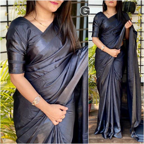 GRAY Color Dola silk Dyeing material Saree - DOLA SILK-05