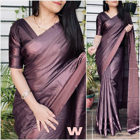 WINE Color Dola silk Dyeing material Saree - DOLA SILK-06