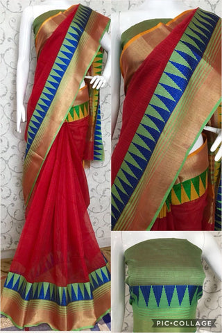 Red Color Cotton Silk Saree - DORIYA-TEMPLE-Red