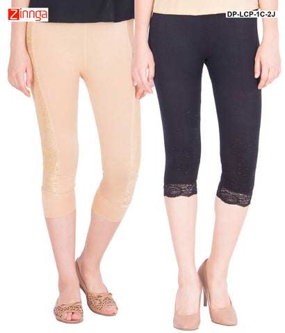 AMERICAN ELM-Women's Pack Of 2 Beautiful Cotton Capris  - DP-LCP-1C-2J