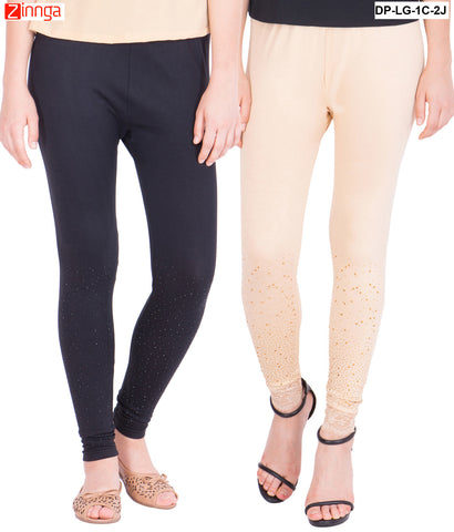 AMERICAN ELM-Pack Of 2  Women's Beautiful Cotton Viscose Legging - DP-LG-1C-2J