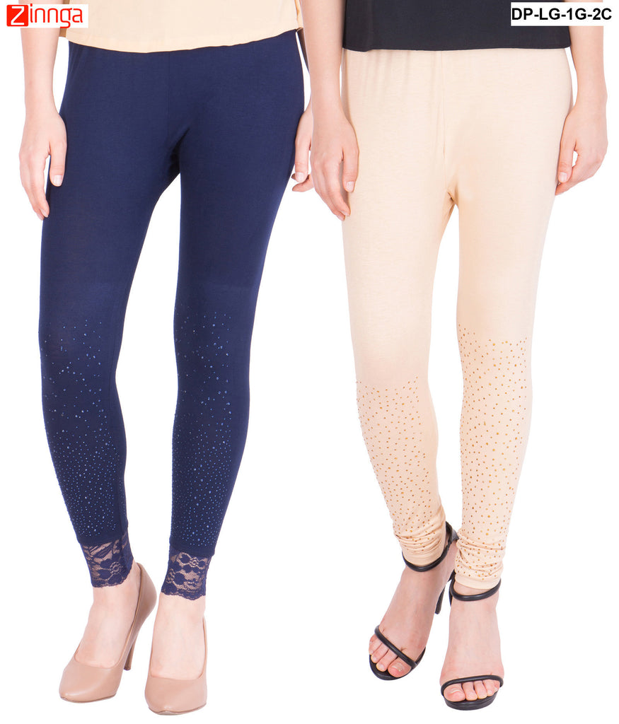 AMERICAN ELM-Pack Of 2  Women's Beautiful Cotton Viscose Legging - DP-LG-1G-2C
