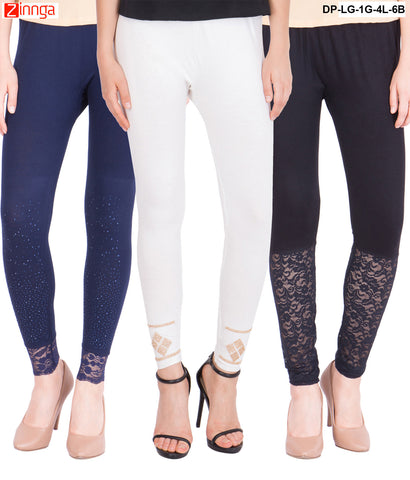 AMERICAN ELM-Pack Of 3  Women's Beautiful Cotton Viscose Legging - DP-LG-1G-4L-6B