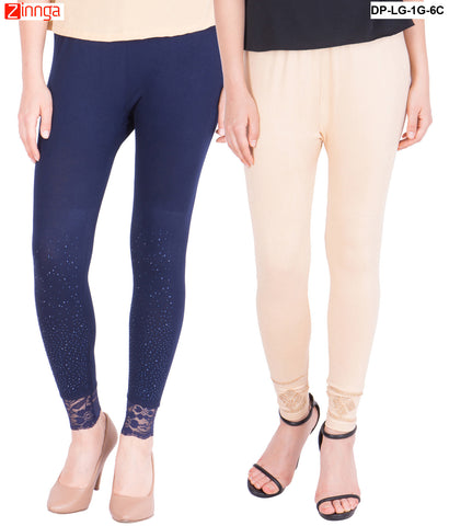 AMERICAN ELM-Pack Of 2  Women's Beautiful Cotton Viscose Legging - DP-LG-1G-6C