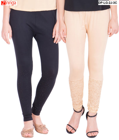AMERICAN ELM-Pack Of 2  Women's Beautiful Cotton Viscose Legging - DP-LG-2J-3C