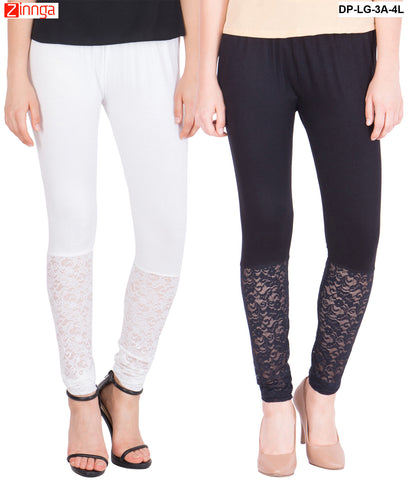 AMERICAN ELM-Pack Of 2  Women's Beautiful Cotton Viscose Legging - DP-LG-3A-4L