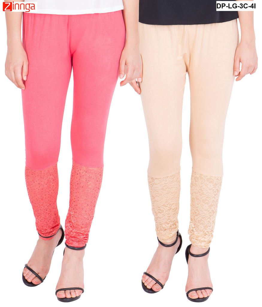 AMERICAN ELM-Pack Of 2  Women's Beautiful Cotton Viscose Legging - DP-LG-3C-4I
