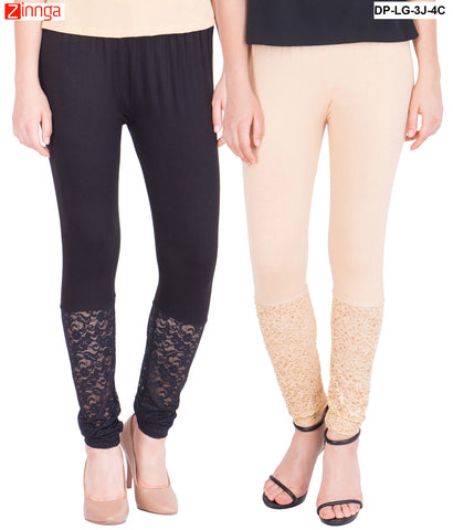 AMERICAN ELM-Pack Of 2  Women's Beautiful Cotton Viscose Legging - DP-LG-3J-4C