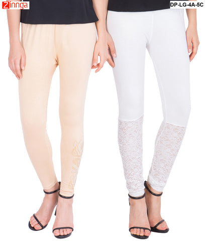 AMERICAN ELM-Pack Of 2  Women's Beautiful Cotton Viscose Legging - DP-LG-4A-5C