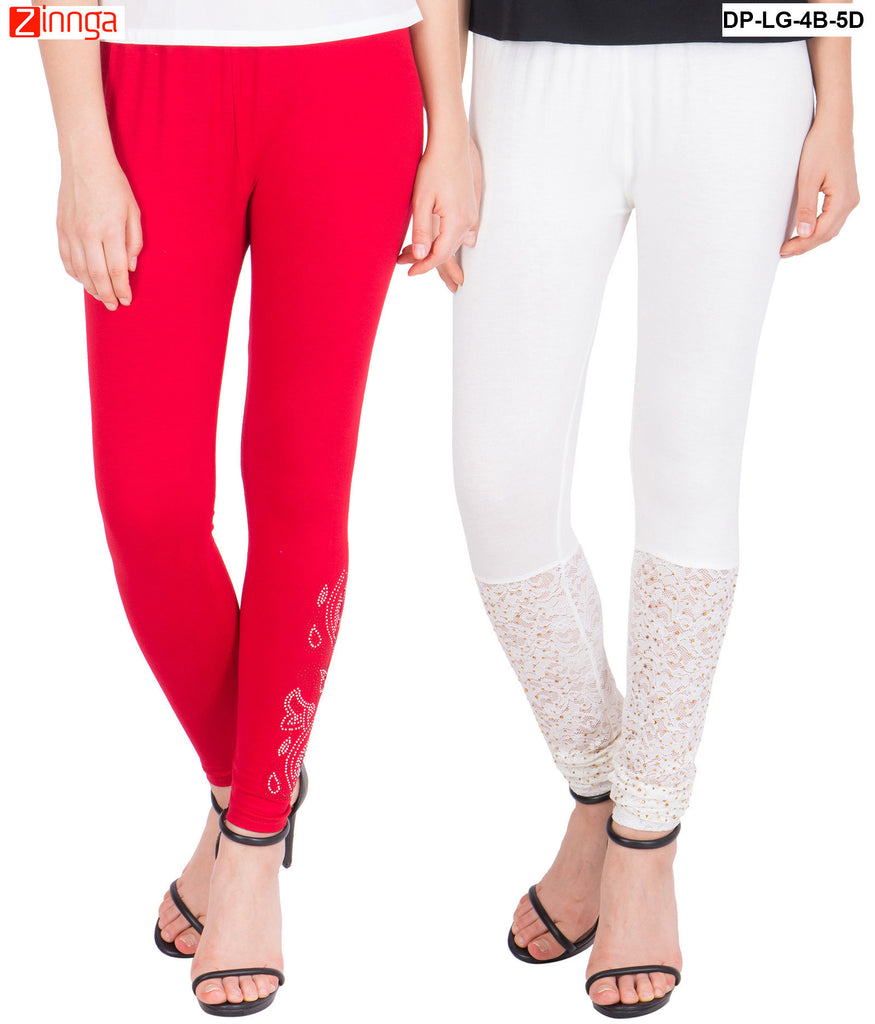AMERICAN ELM-Pack Of 2  Women's Beautiful Cotton Viscose Legging - DP-LG-4B-5D