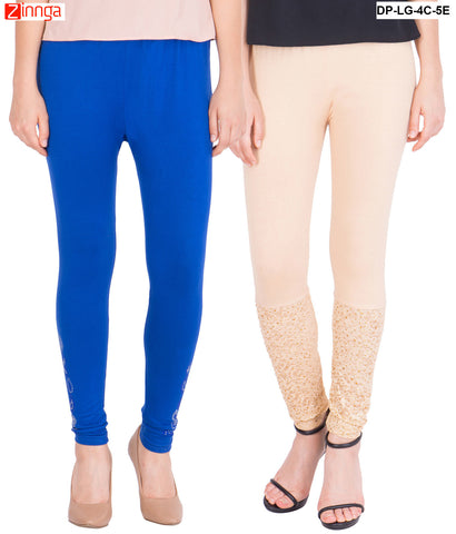 AMERICAN ELM-Pack Of 2  Women's Beautiful Cotton Viscose Legging - DP-LG-4C-5E