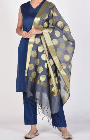 Grey Color Chanderi Women's  2.40 Meter Stylish Dupatta - DP_17_GREY
