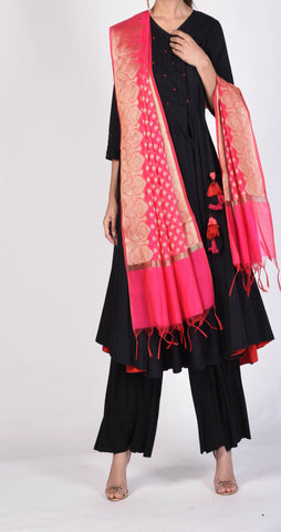 Pink Color Silk Women's  2.30 Meter Stylish Dupatta - DP_18_PINK