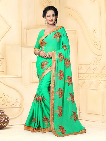 Pista Color Smart Fancy Chiffon Saree - DREAM-813