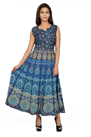 Multi Color Pure Cotton Stitched Gown - DRS0025