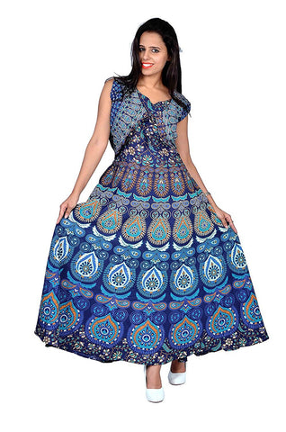 Multi Color Pure Cotton Stitched Gown - DRS0029