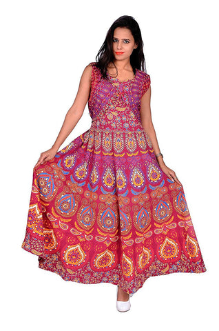 Multi Color Pure Cotton Stitched Gown - DRS0034