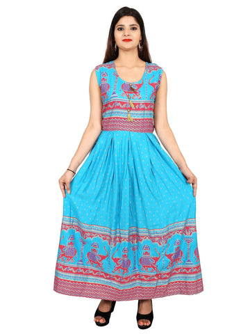Sky Blue Color Rayon Stitched Gown - DRS0059
