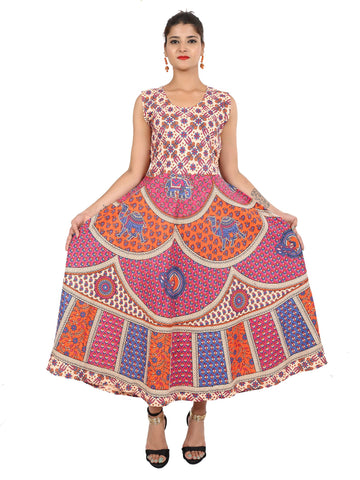 Multi Color Pure Cotton Stitched Gown - DRS0097