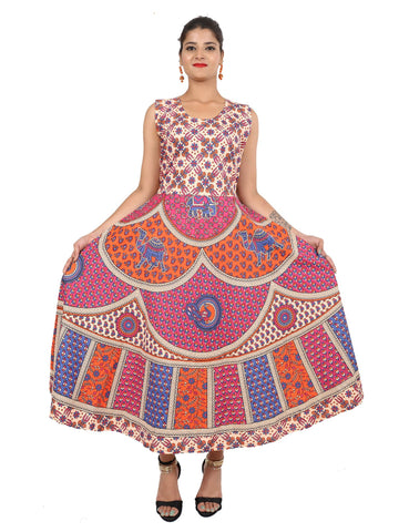 Multi Color Pure Cotton Stitched Gown - DRS0102
