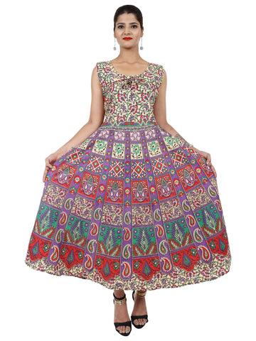 Multi Color Pure Cotton Stitched Gown - DRS0110