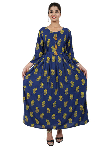Navy Blue Color Rayon Stitched Gown - DRS0113