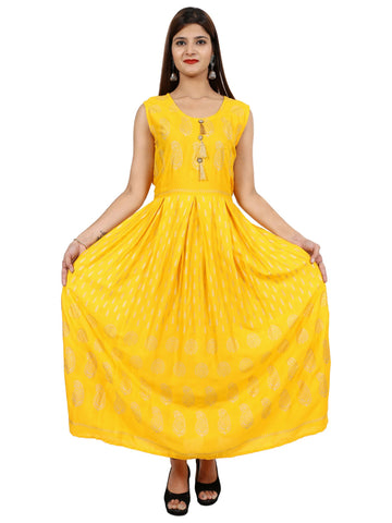 Yellow Color Rayon Stitched Gown - DRS0126