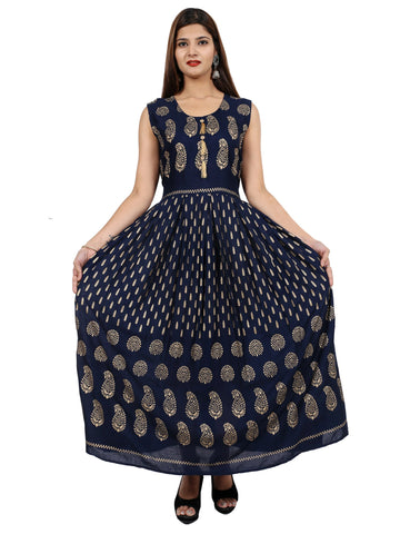 Navy Blue Color Rayon Stitched Gown - DRS0127
