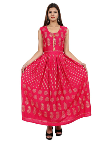 Pink Color Rayon Stitched Gown - DRS0128