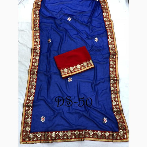 Blue Color Marble Chiffon Saree - DS-50-A