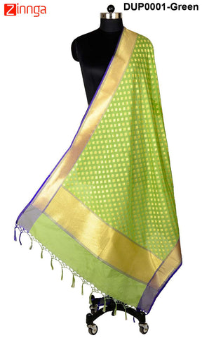 ISHIMAYA-Green Color Banarasi Silk Dupatta - DUP0001-Green