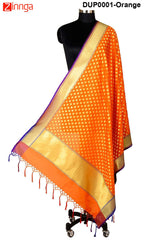 ISHIMAYA-Orange Color Banarasi Silk Dupatta - DUP0001-Orange