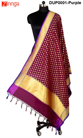 ISHIMAYA-Purple Color Banarasi Silk Dupatta - DUP0001-Purple
