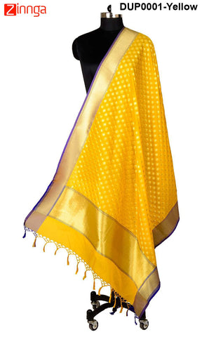 ISHIMAYA-Yellow Color Banarasi Silk Dupatta - DUP0001-Yellow