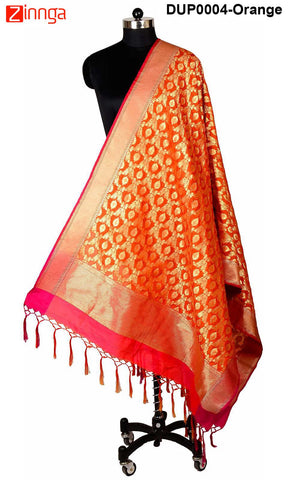 ISHIMAYA-Orange Color Banarasi Silk Dupatta - DUP0004-Orange