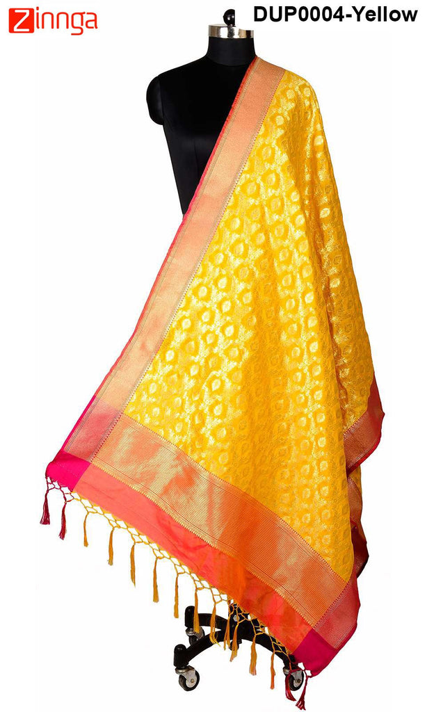 ISHIMAYA-Yellow Color Banarasi Silk Dupatta - DUP0004-Yellow