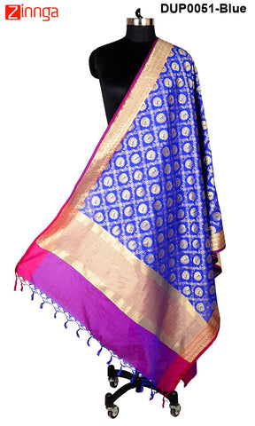 ISHIMAYA-Blue Color Banarasi Silk Dupatta - DUP0051-Blue