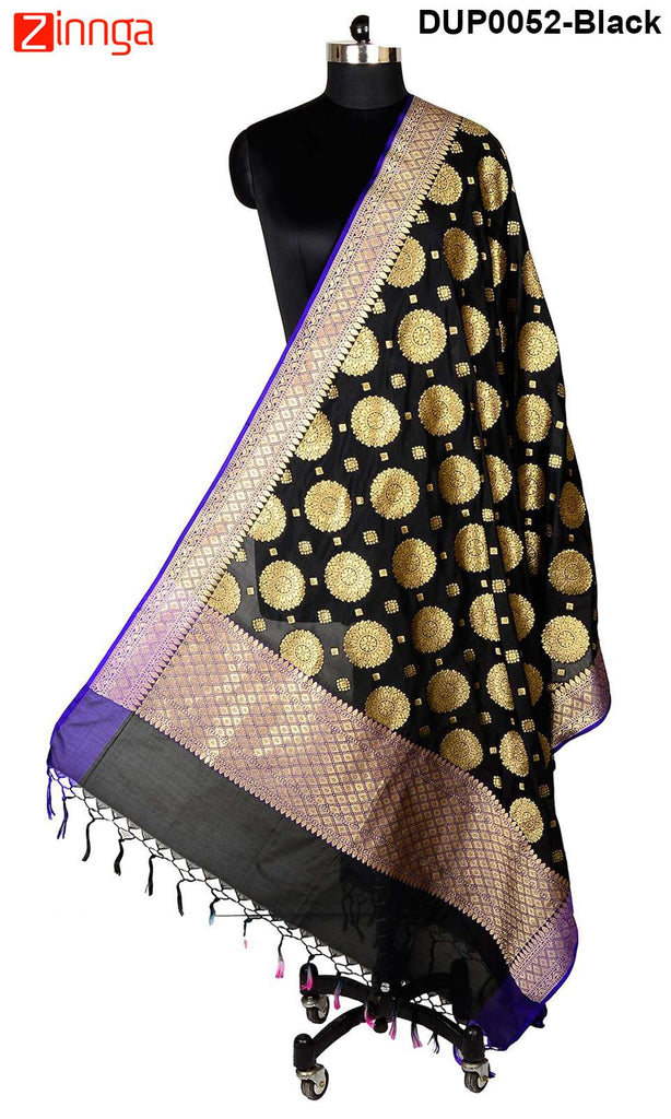 ISHIMAYA-Black Color Banarasi Silk Dupatta - DUP0052-Black