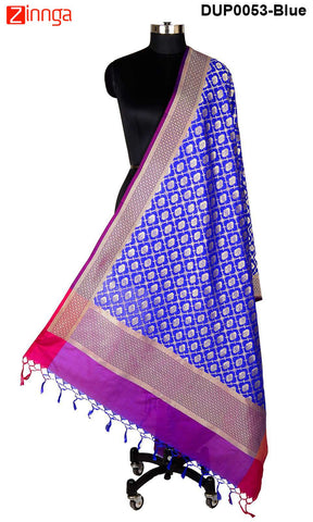 ISHIMAYA-Blue Color Banarasi Silk Dupatta - DUP0053-Blue