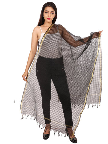 Black Colour Silk Dupatta- DUP0654