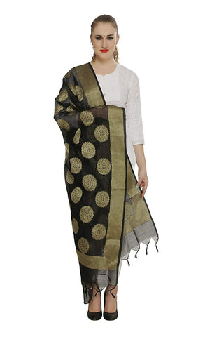 Black  Colour Pure Silk Dupatta- DUP0679