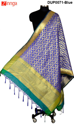 ISHIMAYA-Blue Color Banarasi Silk Dupatta - DUP0071-Blue