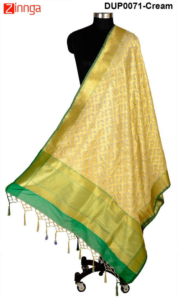 ISHIMAYA-Cream Color Banarasi Silk Dupatta - DUP0071-Cream
