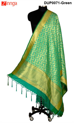 ISHIMAYA-Green Color Banarasi Silk Dupatta - DUP0071-Green