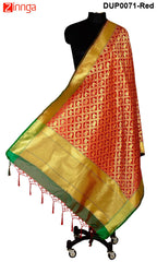 ISHIMAYA-Red Color Banarasi Silk Dupatta - DUP0071-Red