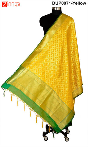 ISHIMAYA-Yellow Color Banarasi Silk Dupatta - DUP0071-Yellow