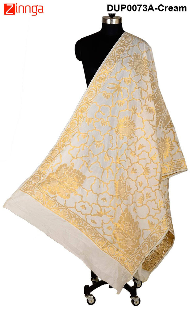 ISHIMAYA-Cream Color Banarasi Silk Dupatta - DUP0073A-Cream