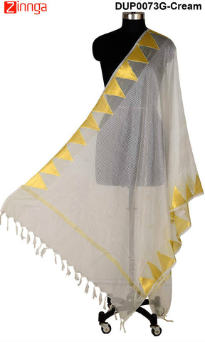 ISHIMAYA-Cream Color Banarasi Silk Dupatta - DUP0073G-Cream
