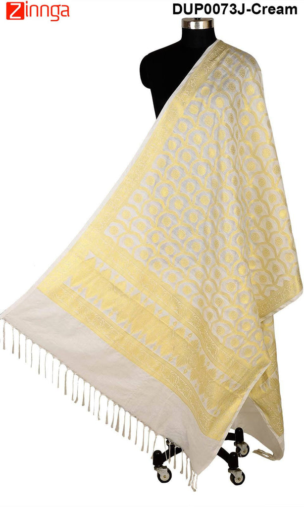 ISHIMAYA-Cream Color Banarasi Silk Dupatta - DUP0073J-Cream